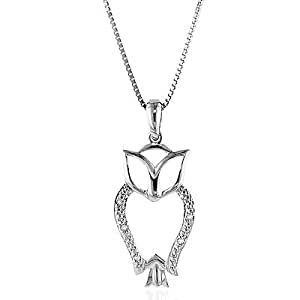 """Diamond Accented Owl Necklace/Pendant with 18"""" Chain in Sterling Silver"""