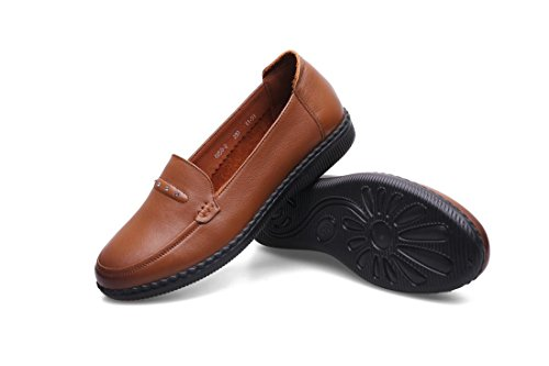 Genuino Bottone Pompe Loafer Antiscivolo Donne Singoli Morbido 3 Di Pattini 5 Marrone Leisure Nero 4 Rosso Brown eur39uk665 Autunno Nvxie Comfort 36 Eur Partito Primavera uk Cuoio New PwAvA