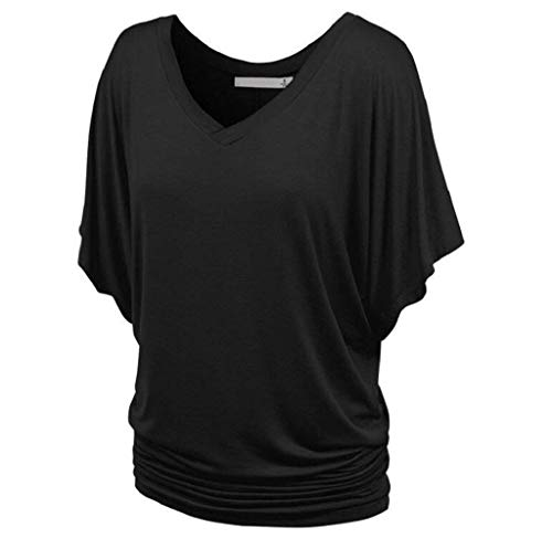 V Casual Et Shirt Tee Courtes Casual Branch Plier Chic Manches Bouffant Souris Shirt Elgante Uni Mode Shirts Manche Cou Schwarz Tshirts BOLAWOO Chauve Femme nZwUqx44