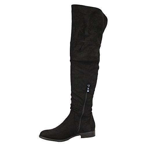Ladies Y808 Winter Womens Shoes Knee The Long Look Suede Over Black Boots Casual Fashion qfrPq6np