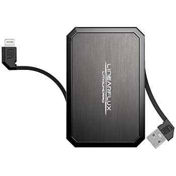 LithiumCard PRO Portable Fast Charge All-In-One Battery Charger with Built in Apple Lightning Cable - TITANIUM