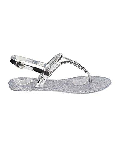 Betani Eh62 Sandalo Flat Slingback T-strap In Glitter Metallico Pvc Donna - Argento