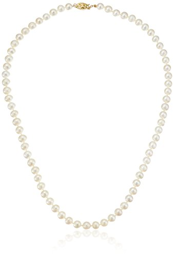 14k Yellow Gold White Freshwater Cultured Pearl Strand Necklace, 18