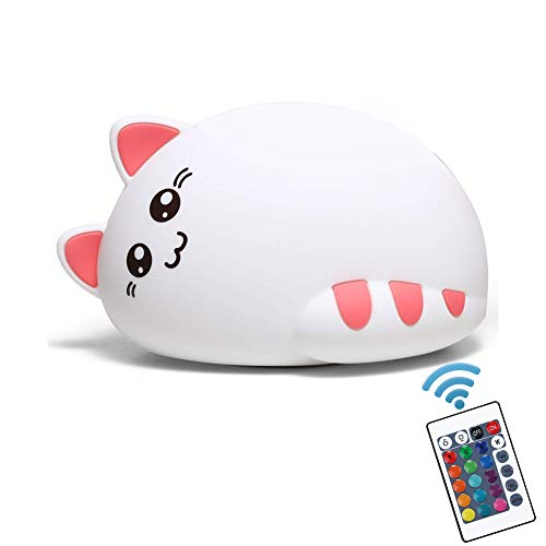 Kids Night Light, NeoJoy Cat Lamp Cat Night Light for Baby Toddler Girls, Cute Nursery Kitty Christmas Gift