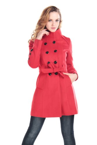 CHAREX Women Wool Blends Coat Trench Coat Long Jacket Outwear Collar Overcoat