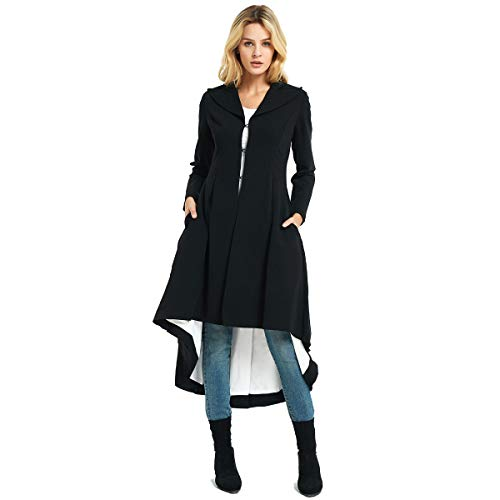 City In Left Women' s Slim Long Dovetail Turn-Down Collar Woolen Trench Coats with Pocket(Medium, Black) ()