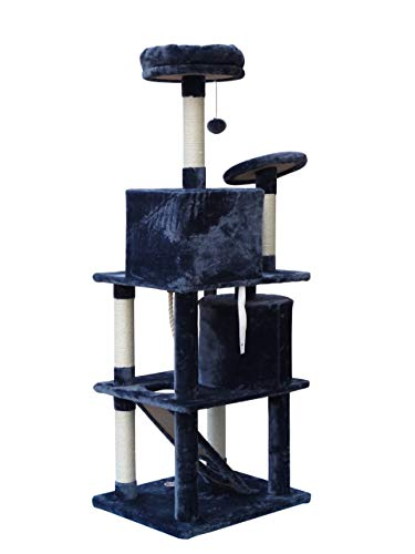 Callas Cat Tree with 2 Bed Cubes, 4 Platforms, Rope and Scratching Post (64 Inches; Dark Grey)