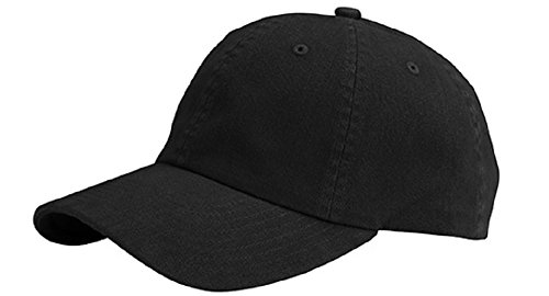 MG Unisex Low Profile Dyed Cotton Twill Cap Velcro Closure BLACK ()