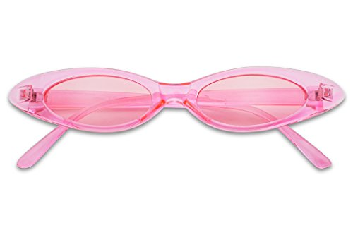 Small Ultra Slim Colorful Translucent Vintage Oval Cat Eye Sun Glasses (Crystal Pink)
