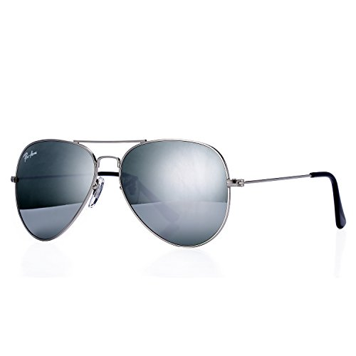 Pro Acme Aviator Crystal Lens Large Metal Sunglasses (Silver Frame/Crystal Silver Mirrored - Sunglasses Logo Your On