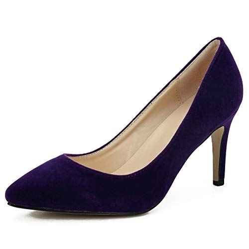 (Women's Classic Pointed Toe Stiletto High Heel Dress Pumps Shoes Purple 38 - US 6.5)