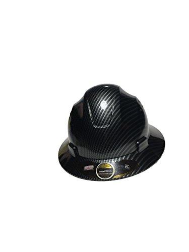 HNTE-Black/silver Fiberglass Hard Hat Safety Full Brim Helmet, Nylon Ratchet Suspension, 4-Point,