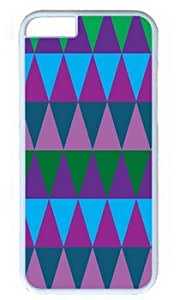 Blue Greens Kelly Aqua and Purple Plums Long Triangle Customized Hard Shell White iphone 6 Case On Custom Service