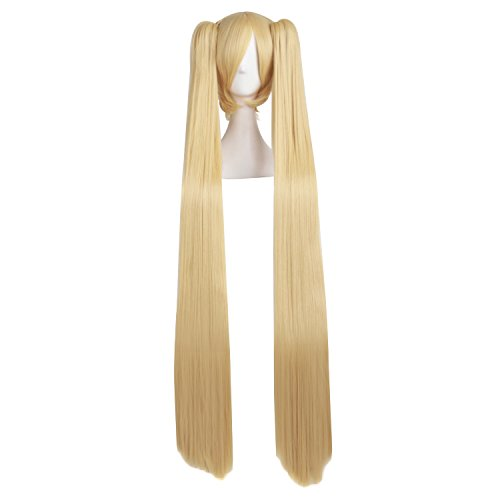 MapofBeauty 48' Straight 2 Clip On Ponytails Cosplay Costume Wig (Orange Yellow)