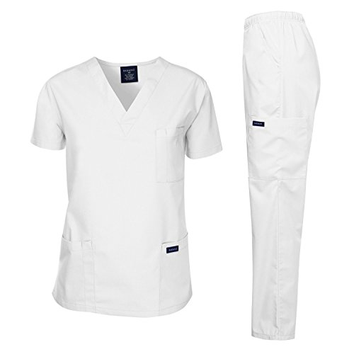 Dagacci Scrubs Medical Uniform Men Scrubs Set Medical Scrubs Top and Pants (Small, White) (Cotton Poplin Field Shirt)