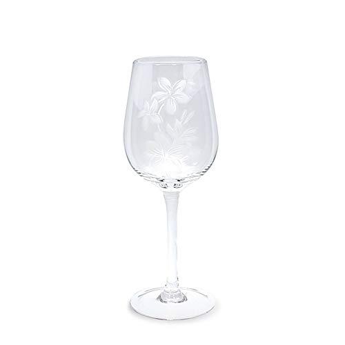 4 Etched Wine Glasses Plumeria