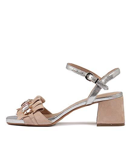 DJANGO & JULIETTE Maura Womens Heels Womens Shoes NUDE SILVER SUEDE LEATHER