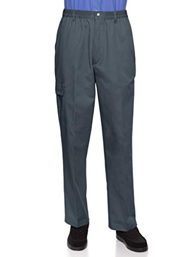 Cotton Wrinkle Free Twill Pant - AKA Wrinkle Free Men's Full Elastic Waist Twill Casual Pant Grey Large