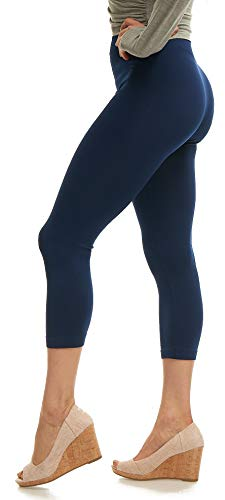 Lush Moda Seamless Capri Length Basic Cropped Leggings - Variety of Colors - Navy OS
