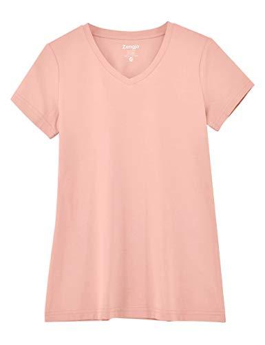 Zengjo Women's Basic Plain V Neck T Shirts Stretchy Cotton Modal Short-Sleeve Tee Shirt for Women