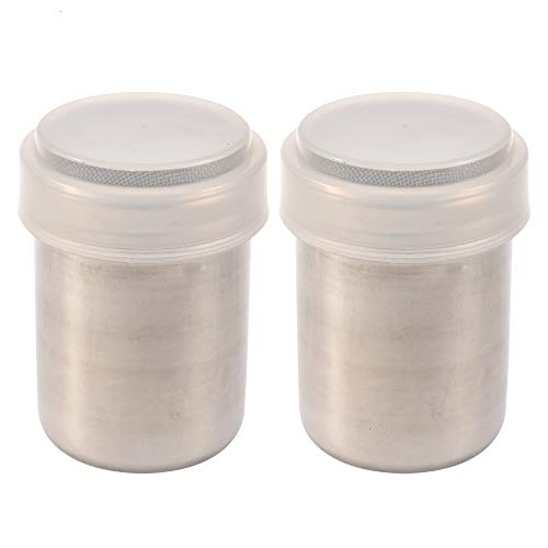 Dredge Shaker, 2pcs Stainless Steel Fancy Coffee Dredge Cocoa Fine Mesh Vibrating Screen With Lid For Family Restaurant Baking And Cooking
