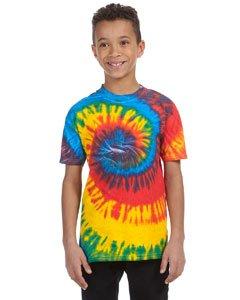 - Tie Dye H1000B Youth Tie-Dyed Tee - Rasta Blue Spiral, Medium