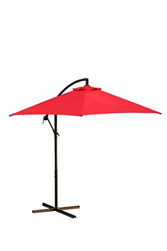 Cantilever Patio Umbrella with Crank Lift, and Powder Coated Pole - Red - 9 ft. California Cantilever Umbrella