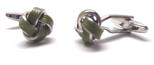 Green and Silver Enamel Knots Cufflinks Cuff Links