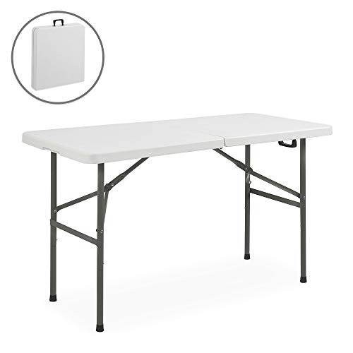 Best Choice Products SKY1593 VD-2968OP Folding Table Portable Plastic Indoor Outdoor Pic, 4 Foot, 4ft White