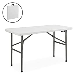 Best ChoiceProducts Folding Table Portable Plastic...