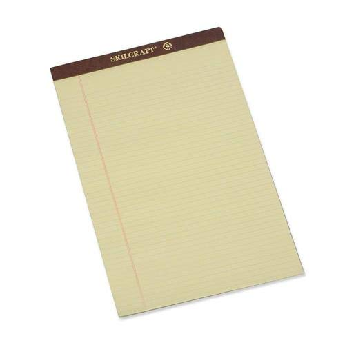 7530-01-209-6526 SKILCRAFT Perforated Writing Pad - 50 Sheet - 16lb - Narrow Ruled - Legal 8.5'' x 14'' - 12 / Dozen - Canary