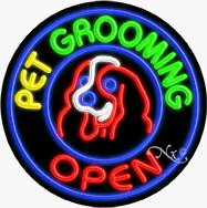 Pet Grooming Circle Shape Neon Sign - 26 x 26 x 3 inches - Made in USA