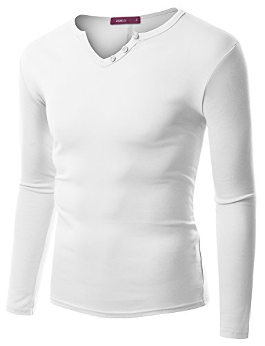 Doublju Men Comfortable Longsleeve Regular Fit T-shirt with Button Placket WHITE,2XL