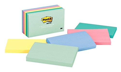 (Post-it Notes, America's #1 Favorite Sticky Note, 3 in x 5 in, Marseille Collection, 5 Pads/Pack (655-AST))