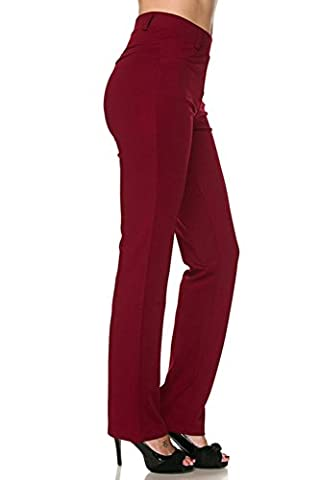 Vina Vino Women's Pull-On Stretchy Solid Dressy Pants (Petite Office Pants)