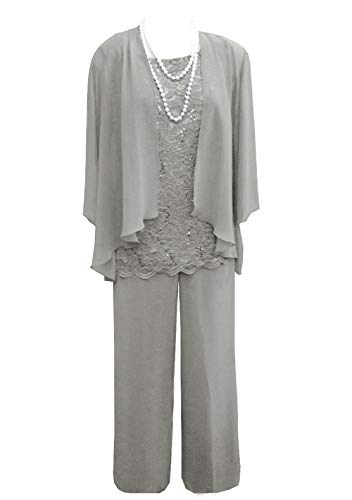 Women's 3 Pieces Lace Chiffon Mother of Bride Dress Pant Suits with Jacket Outfit for Wedding Groom(US 16, Silver Grey)