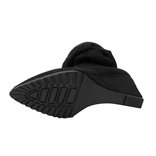 AIYOUMEI Damen Stretch Keilabsatz Overknee Stiefel mit Schnürsenkel Langschaft Keilstiefel Schuhe Schwarz