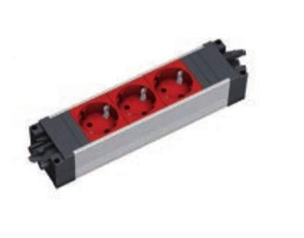 Bachmann Step ALU - 3xUTE EDV GST18 Power Strip - Lenght: 220mm -, 336.072 (Power Strip - Lenght: 220mm - w/UTE Frence Socket with Child Protection & Additional Secure Lock - red)