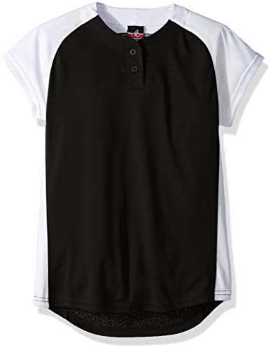 Alleson Ahtletic Girls Dura-Light Fast Pitch Softball Jersey, Black/White, Small