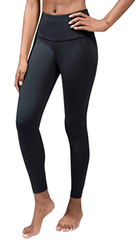 90 Degree By Reflex Squat Proof Tummy Control 7/8 Length Leggings with Back Zipper Pocket - Black - Small