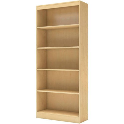 Wide 5 Shelves Bookcase in Multiple Finishes, Wide Bookcase with 5 Shelves for Extra Storage Saving, Home Bookcase, Living room Bookcase, Wide Bookcase with 5 shelves, BONUS e-book (Natural Maple) (Room Maple Bookcase Living)