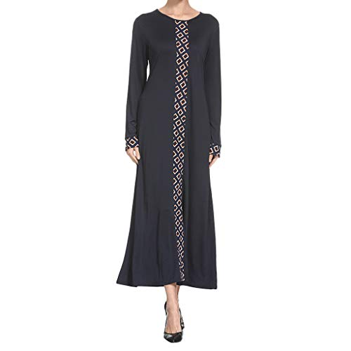 Toimothcn Long Sleeve Muslim Kaftan Dress, Middle East Maxi Dress Aroob Abaya Long Robe Gowns (Black,XL)