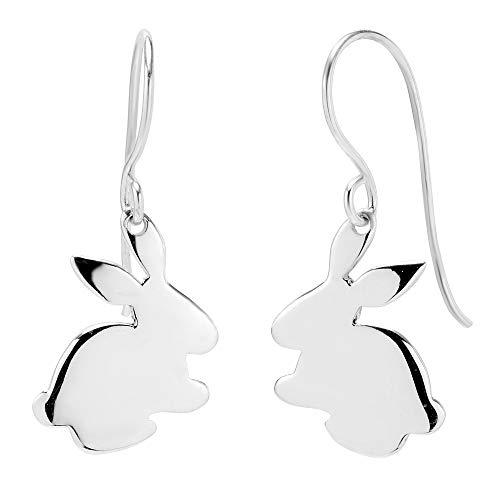 - 925 Sterling Silver Bunny Rabbit Dangle Hook Earrings