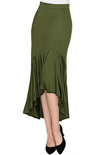 Made By Johnny WB1132 Womens Asymmetrical High Low Ruffle Hem Skirt M ()