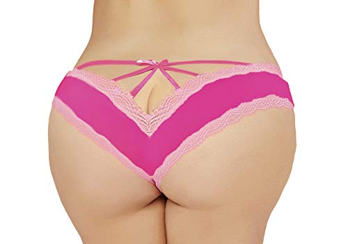 Lacy Line Plus Size Sexy Contrast Lace Hipster Panties with Strappy Back (3x/4x,Hot Pink)
