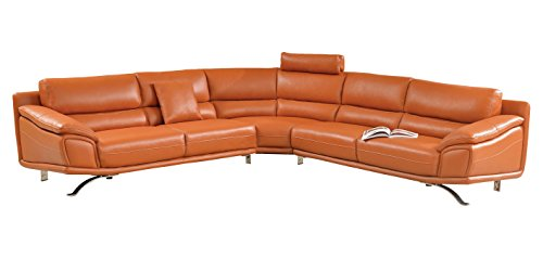 Amazon.com: Modern Sectional Sofa in Orange Italian Leather with ...