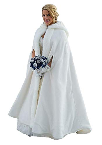 Fenghuavip Thicken Wedding Cloak Faux Fur Winter Robes Hooded Bride Capes with Armhole (Hooded Cape Women For)