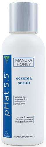 Exfoliating Face and Body Scrub for Eczema - Gentle Exfoliator for Sensitive Skin with Manuka Honey, Coconut and Aloe Vera - Moisturizing Exfoliant to Rejuvenate and Relieve Dry and Itchy Skin (4 oz)