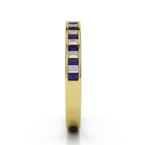 Or jaune 18carats 0.78CT G-H/VS Certifié Coupe ronde tanzanite et diamants Agdr-1139