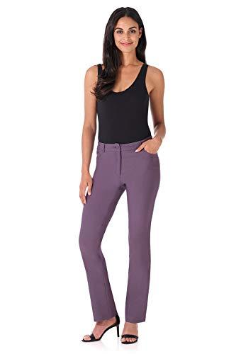 Rekucci Women's Iconic Stretch 5 Pocket Straight Leg Pant w/Zipper Closure (12,Mauve) ()